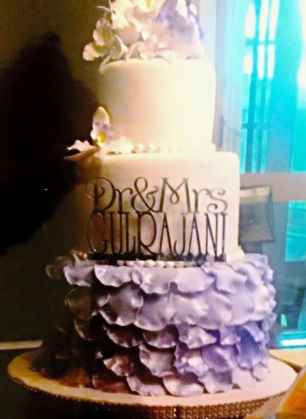 Wedding Cake tower with lavender peonies